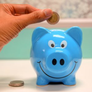 A photo showing the action of placing coins in a piggy bank, which gives emphasis to the amount of money a person can save by using soap nuts