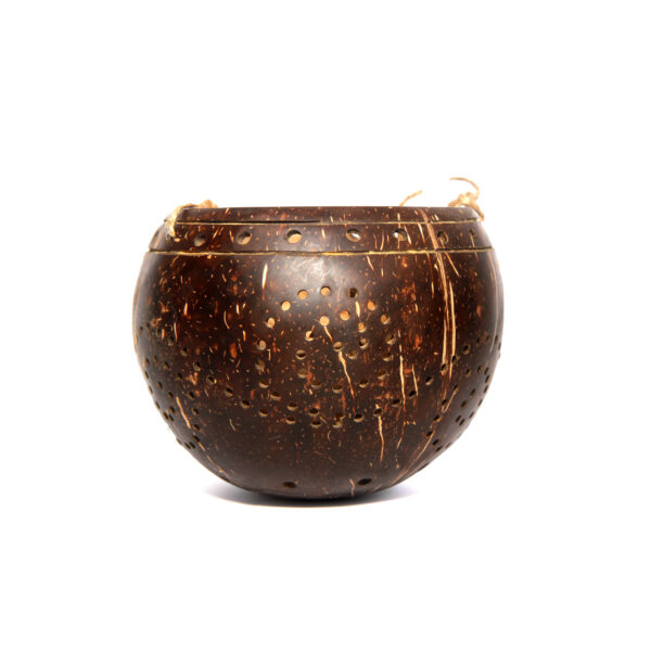 Handcrafted all-natural coconut lamp/lantern (circle design)