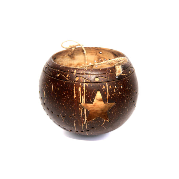 Handcrafted all-natural coconut lamp/lantern (star design)