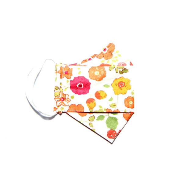 Handmade linen and cotton reusable mask (bright floral pattern)