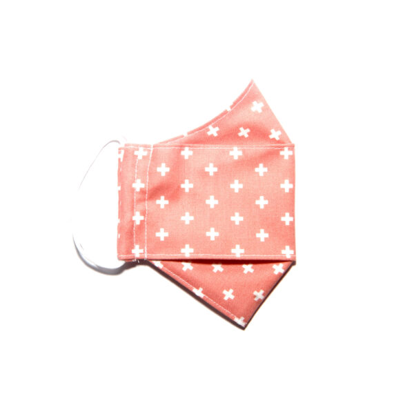 Handmade linen and cotton reusable mask (white cross pattern)