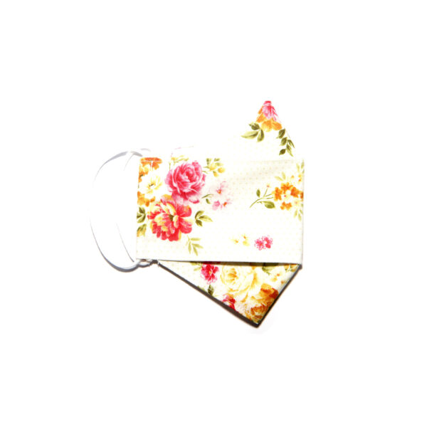 Handmade linen and cotton reusable mask (bright petal pattern)